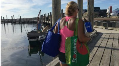 Grocery shopping with reusable bags