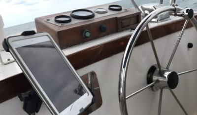iPad being used as a hotspot on a boat