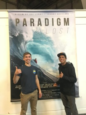 Chris meeting Pro Surfer and Paddler Kai Lenny